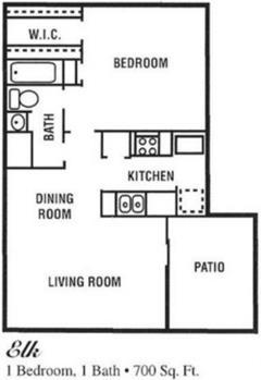 700 sq. ft. E floor plan