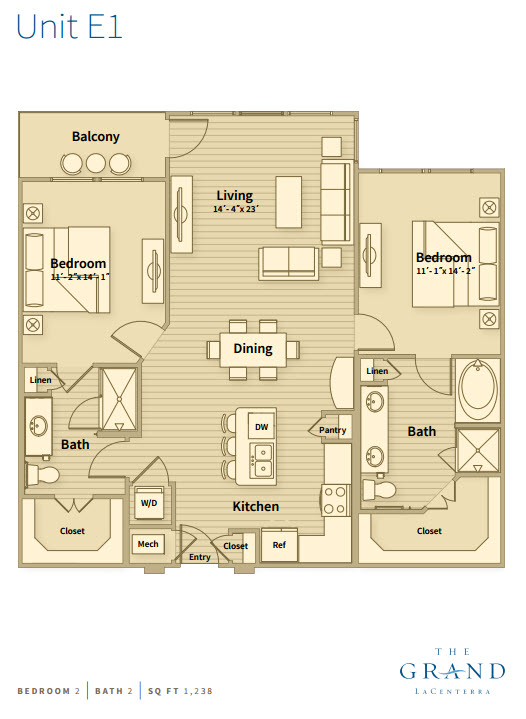 1,238 sq. ft. E1 floor plan