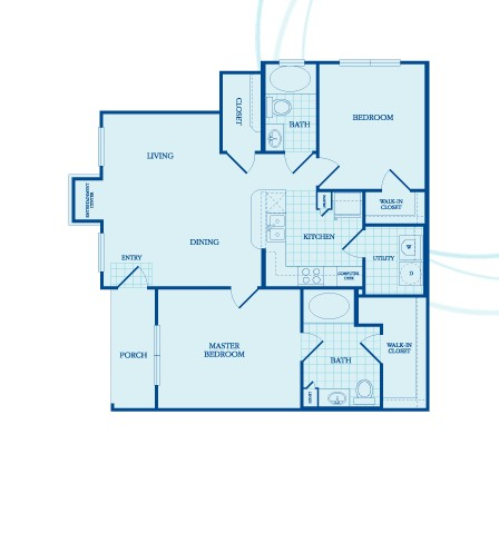 1,037 sq. ft. Grafton floor plan