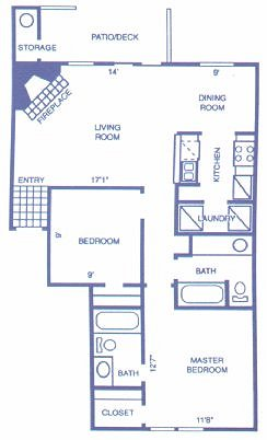 887 sq. ft. COTTONWOOD floor plan