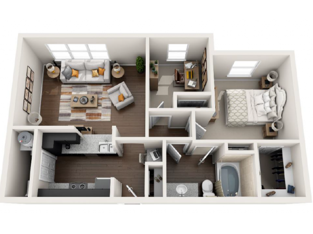 821 sq. ft. D floor plan