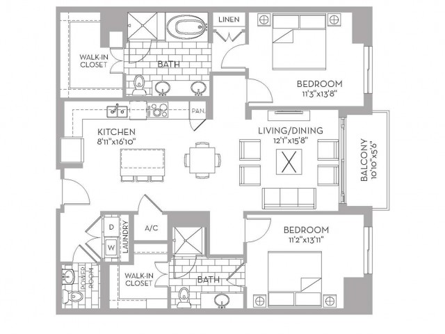 1,318 sq. ft. Douglas(B.2) floor plan