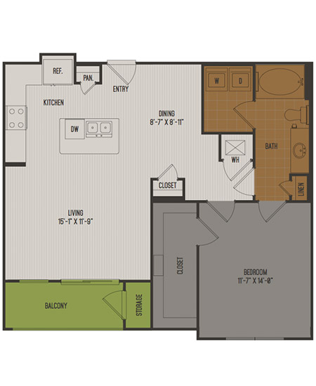 842 sq. ft. A4 floor plan