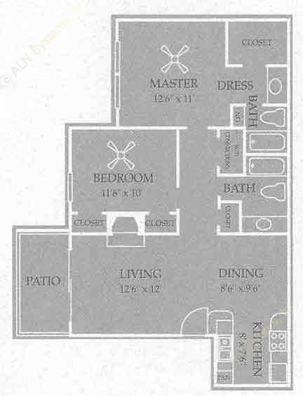 930 sq. ft. Albany floor plan