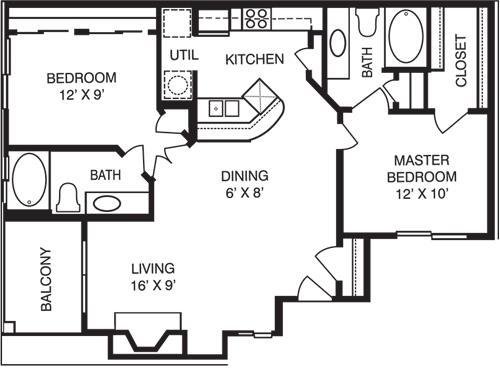 942 sq. ft. B1 floor plan