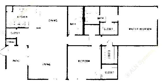 1,003 sq. ft. A3 floor plan