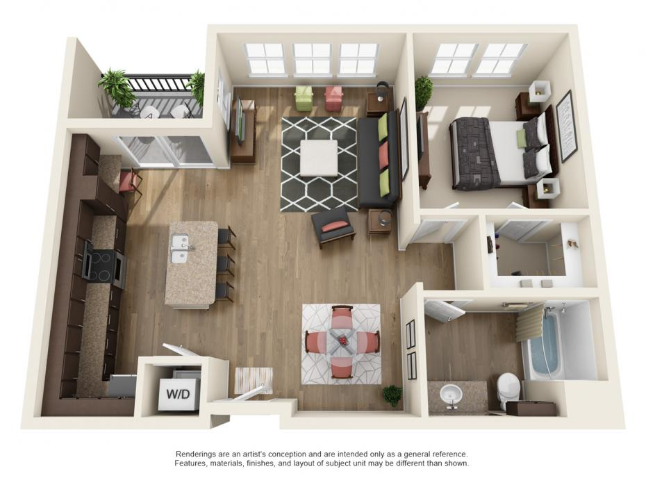 849 sq. ft. A4 floor plan