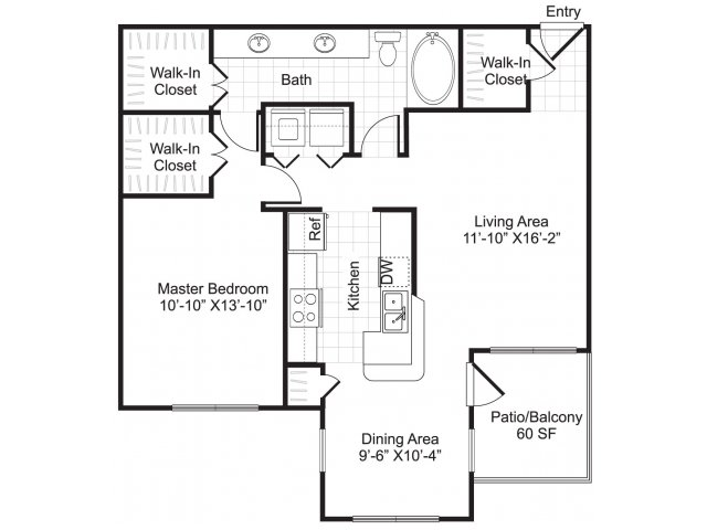 928 sq. ft. A3 floor plan