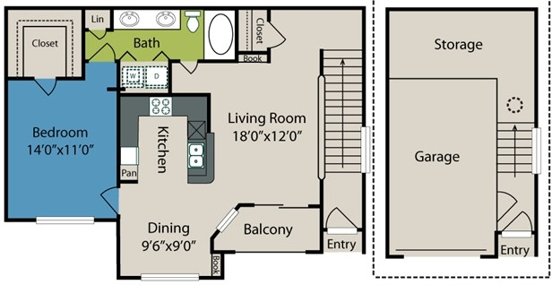 885 sq. ft. A2 floor plan