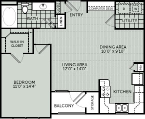 810 sq. ft. 1E floor plan