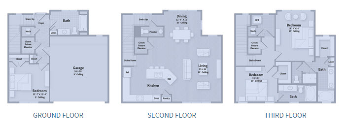 2,164 sq. ft. T1D floor plan