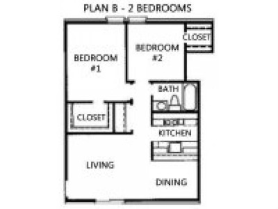 950 sq. ft. B1 floor plan