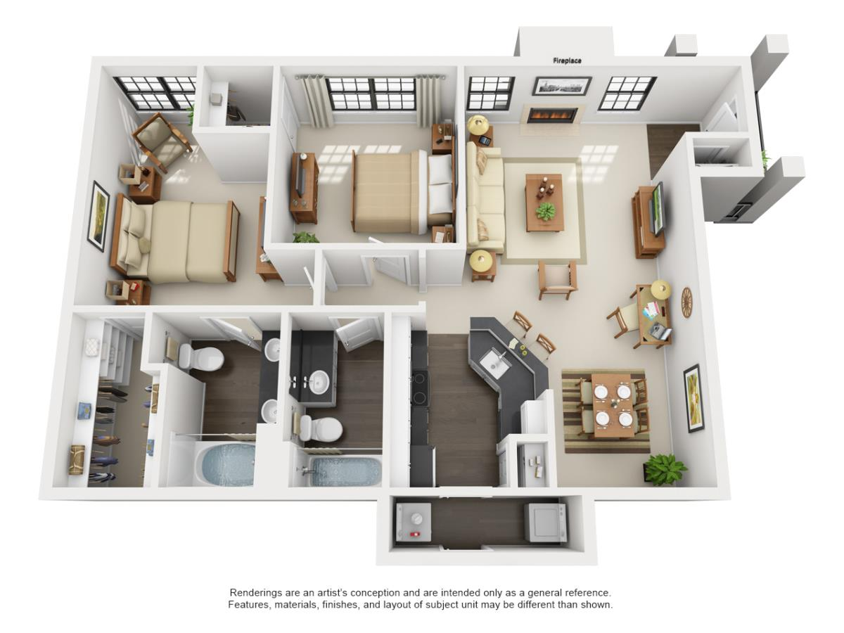 1,133 sq. ft. Capilano floor plan