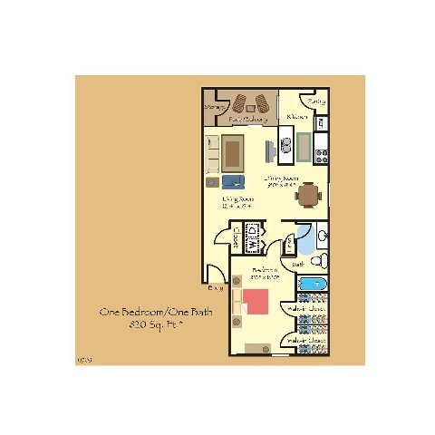 820 sq. ft. A6 floor plan