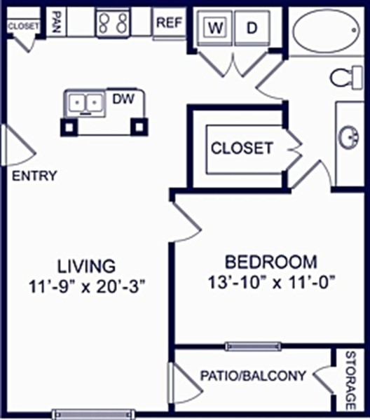724 sq. ft. Birch 1 floor plan