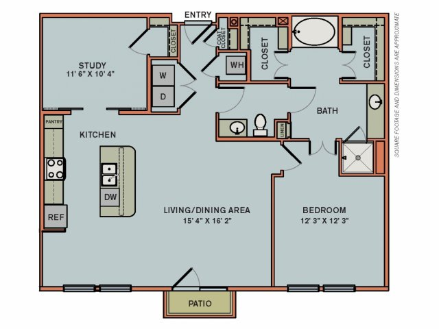 1,190 sq. ft. 3AS3 floor plan