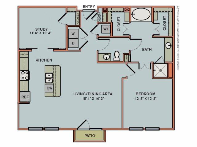 1,190 sq. ft. 3AS3 floor plan