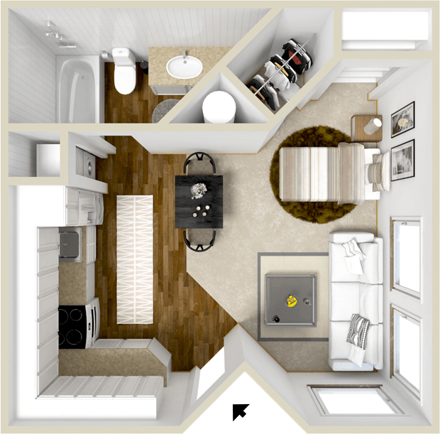 375 sq. ft. Somerset floor plan