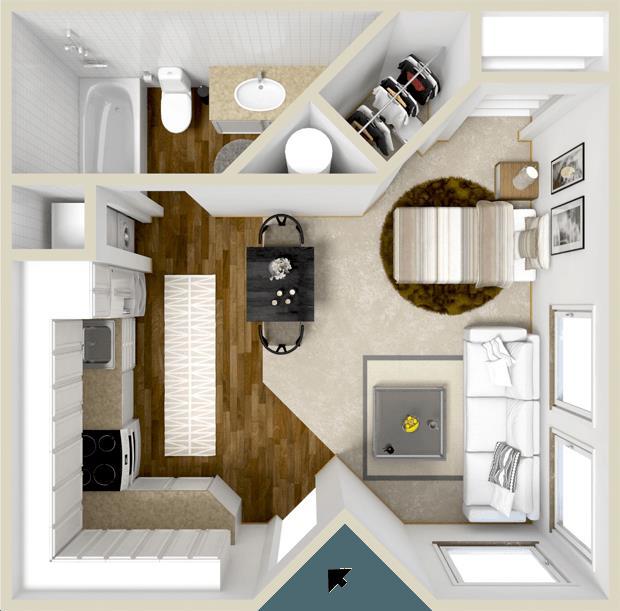 375 sq. ft. Somerset floor plan