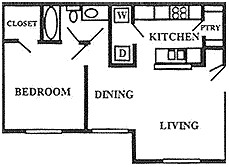 624 sq. ft. 50% floor plan
