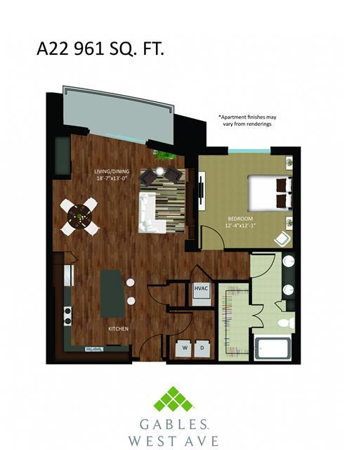 961 sq. ft. DA22 floor plan