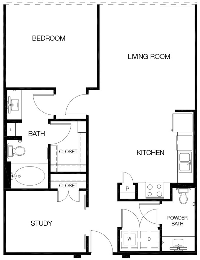 908 sq. ft. A2 floor plan