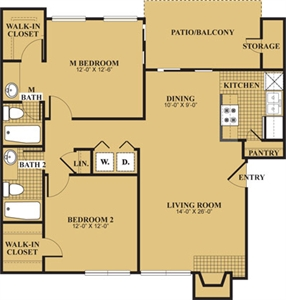 1,000 sq. ft. Freemont/B1 floor plan