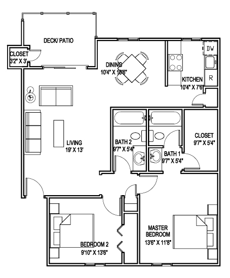 1,000 sq. ft. G floor plan