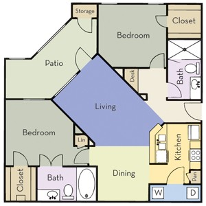 1,123 sq. ft. Plan B2A floor plan