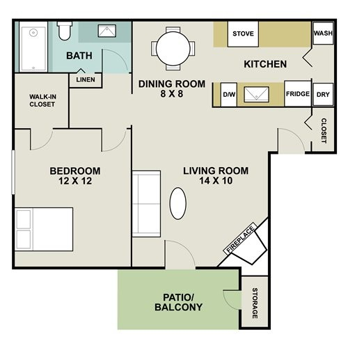 752 sq. ft. C1 floor plan