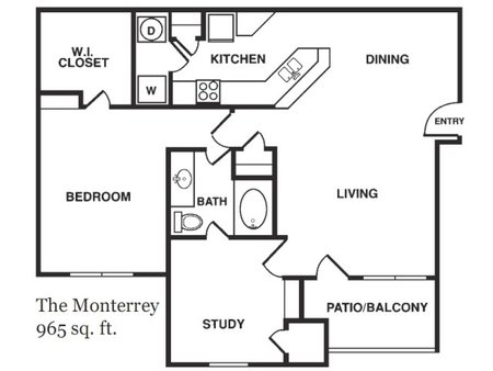 965 sq. ft. Monteray floor plan
