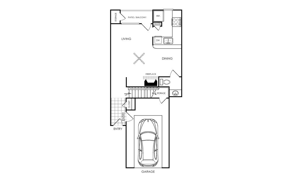 997 sq. ft. A3 floor plan