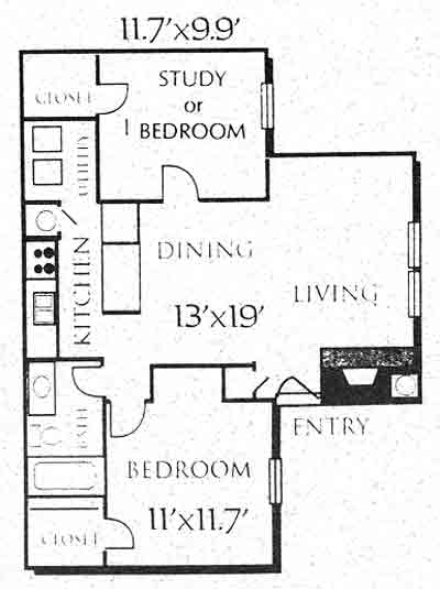 805 sq. ft. B1 floor plan