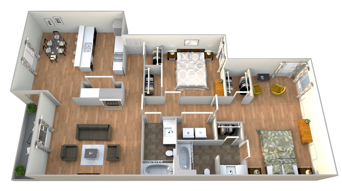 1,261 sq. ft. 2x2 B floor plan