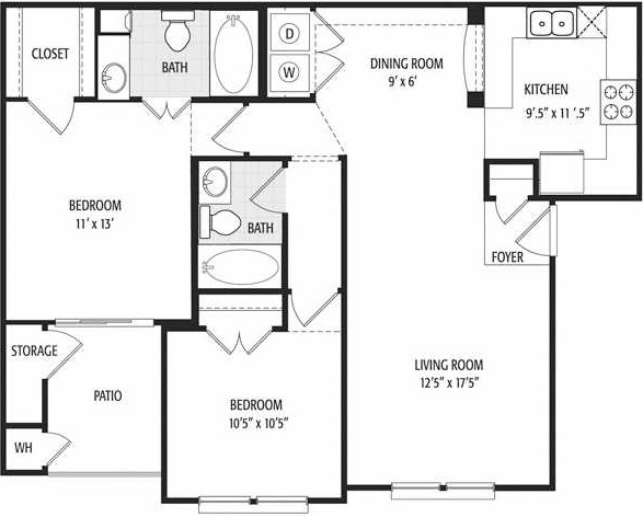 985 sq. ft. Belicia/60% floor plan