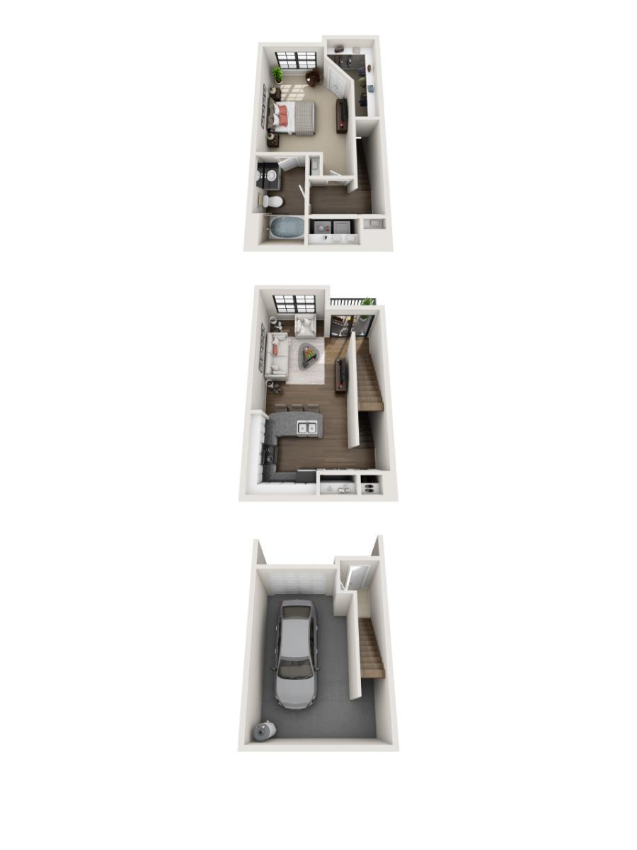 834 sq. ft. A1- floor plan