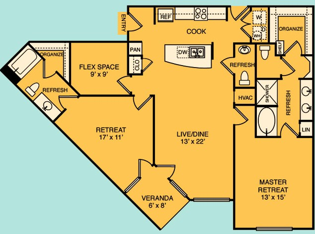 1,403 sq. ft. C4 floor plan