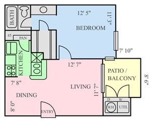 564 sq. ft. A2 floor plan