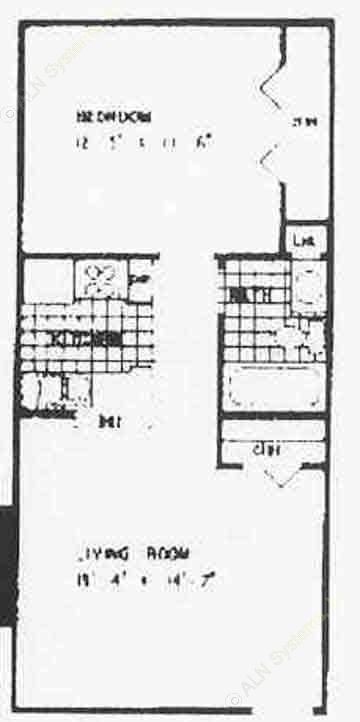 535 sq. ft. A1 floor plan