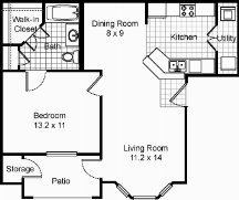 663 sq. ft. Cove floor plan