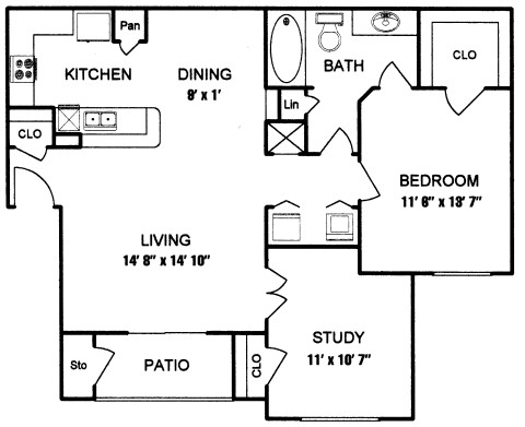 860 sq. ft. to 956 sq. ft. CORDELL II floor plan