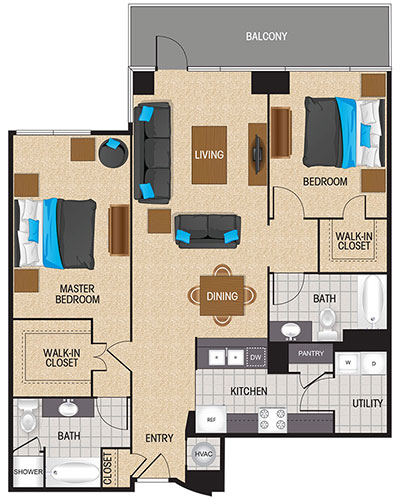 1,225 sq. ft. Scarlet floor plan