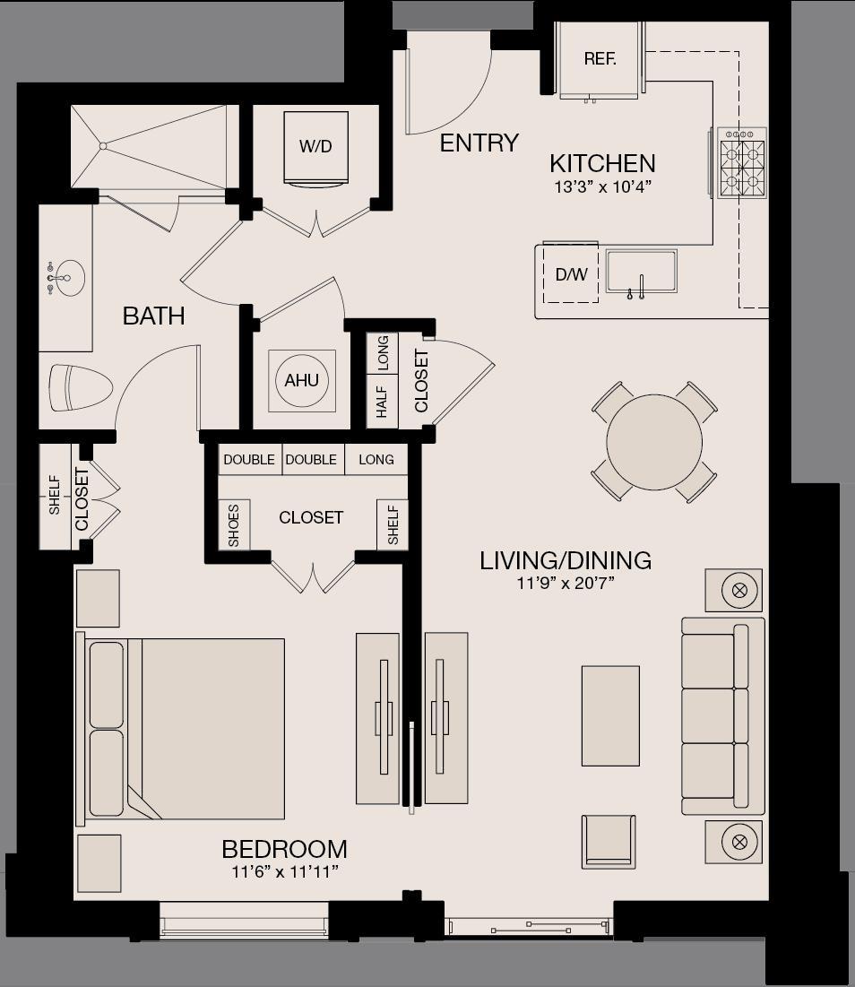 814 sq. ft. floor plan