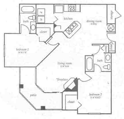 1,096 sq. ft. B3 floor plan