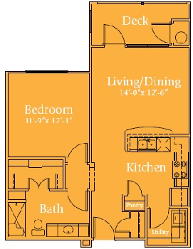 714 sq. ft. Holiday/60% floor plan