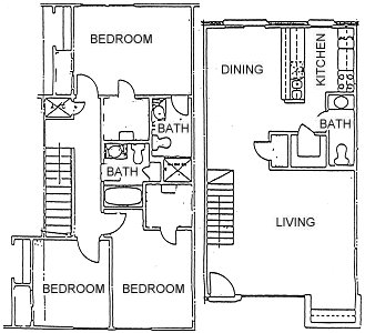 1,411 sq. ft. 3BDRM TOWNHOME 2.5BTH floor plan
