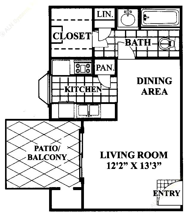 479 sq. ft. A floor plan