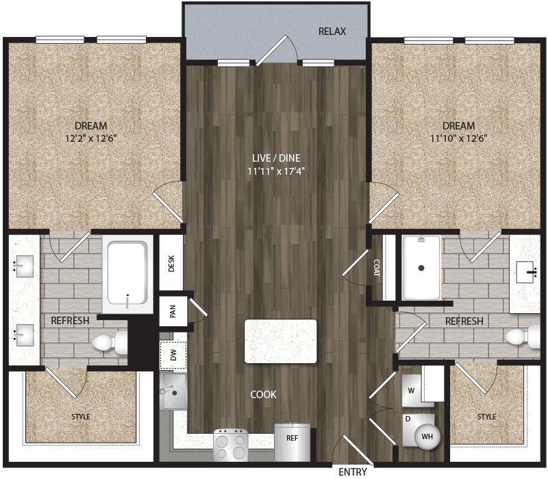 988 sq. ft. B1 floor plan