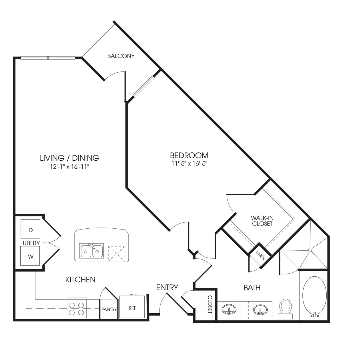 805 sq. ft. Knightsbridge floor plan