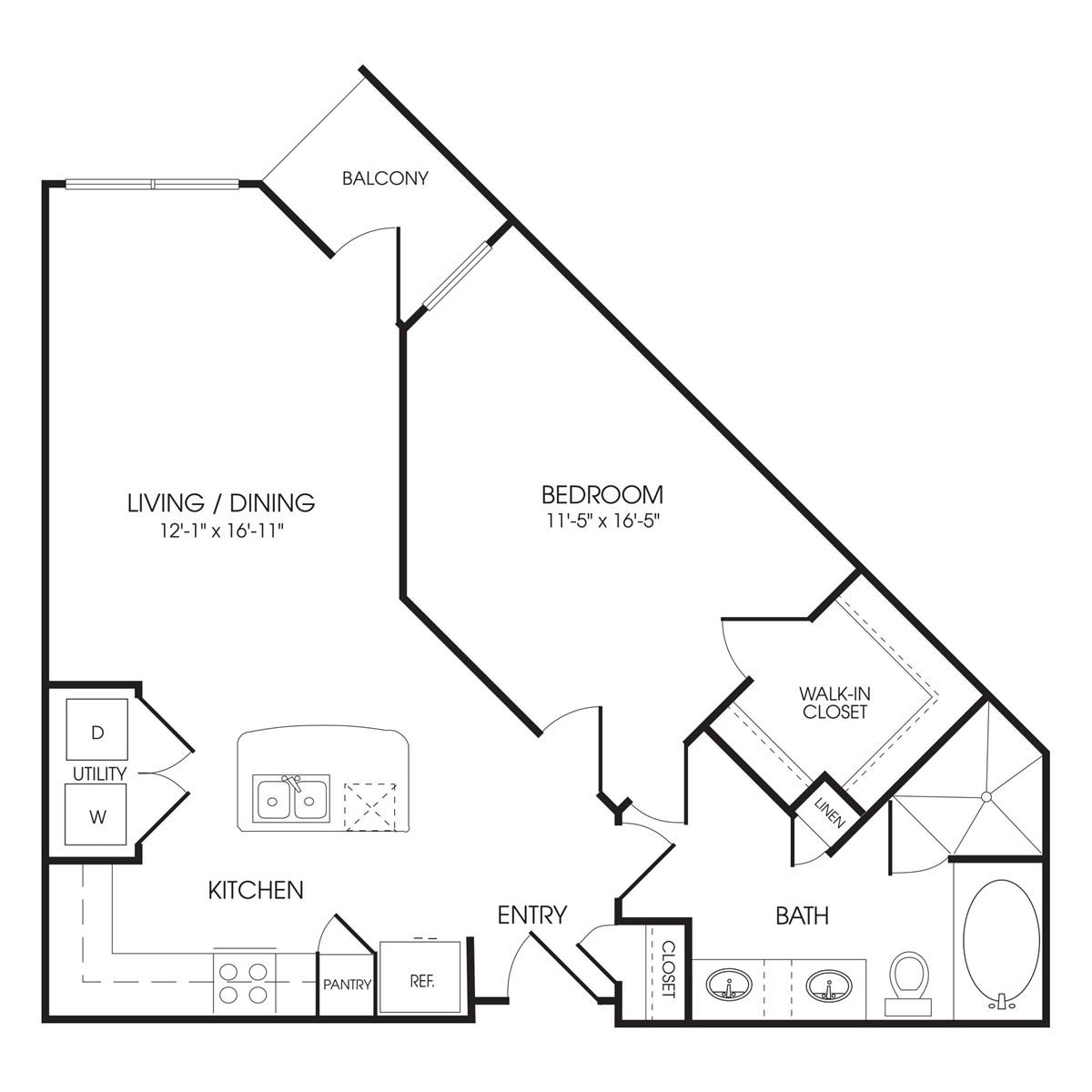805 sq. ft. Knightsbridge floor plan